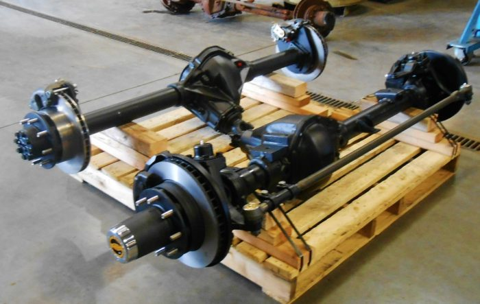 Axles on a crate for shipping