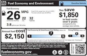 EPA fuel economy information sticker