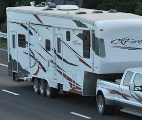 RV being hauled on a dually axle